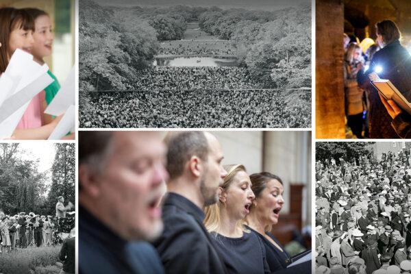 Collage af alsangsstævner og fællessangsarrangementer